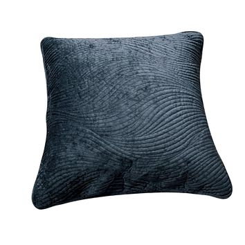Tache Navy Blue Velvety Dreams Luxury Velveteen Plush Waves Euro Sham (JHW-852BL-Euro)