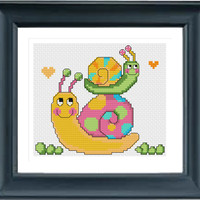 Animal Cross Stitch Pattern pdf, Cute Animals, instant download, Modern Cross Stitch Pattern, Chinese Cross Stitch, Snail Mommy And Her Baby