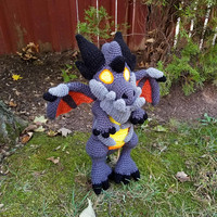 World of Warcraft Inspired: Lil Deathwing, Dragon Whelpling Amigurumi (Crochet Plushie/Plush Toy) - MADE TO ORDER