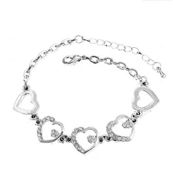 Heart Connectors Rhinestone Crystal Wedding Bracelet