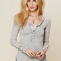 Free People Crochet Cuff Henley