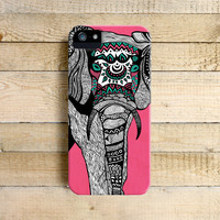 Pink Tribal Elephant Art Phone Case for iPhone 4, 4s, 5, 5s, 5c and Samsung Galaxy S3 & S4