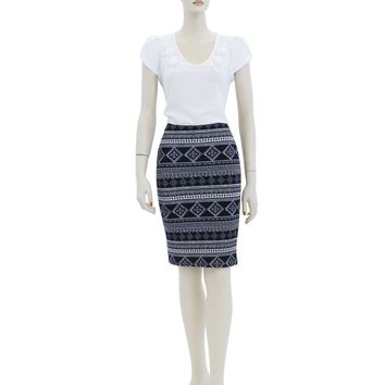Aztec African Print Fitted Knee length Skirt Size S M L AM9610