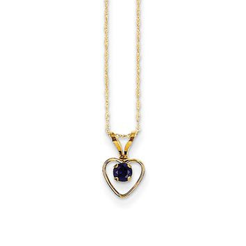 3mm Blue Sapphire Birthstone 14k Yellow Gold Heart Necklace - 15 Inch