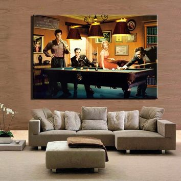 Modern Classic Poster Canvas Painting Elvis Presley, Humphrey Bogart, Marilyn Monroe Play Billiards Wall Art Picture Home Decor