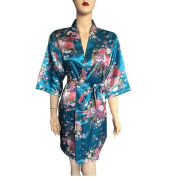 ESBONFI Silk Satin Wedding Bride Bridesmaid Robe Floral Bathrobe Short Kimono Robe Night Robe Bath Robe Fashion Dressing Gown For Women