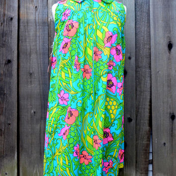 Dreamy Vintage House Dress or Nightgown, Jan Sue, Ban-Lon Fashion, New With Tags, Tropical Pink Yellow and Blue Floral, Size 8, 1960s