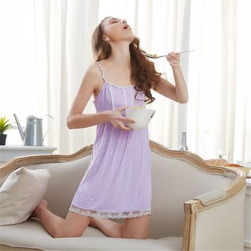 2017 New summer the harness Nightdress sexy female cotton belt can be adjusted by the household skirt girl dot nightgown