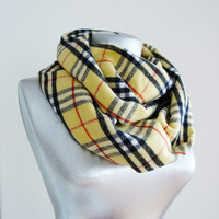 Handmade Tartan Infinity Scarf - Wool - Yellow Red Black White - Winter Autumn Scarf - Men Unisex Scarf