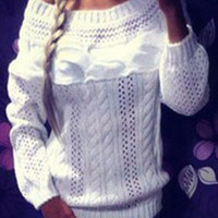 Boat Neck Long Sleeve Cut Out Sweater