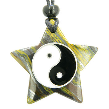 Amulet Star Pentacle and Lucky Ying Yang Charm in Tiger Eye Iron Pendant Necklace