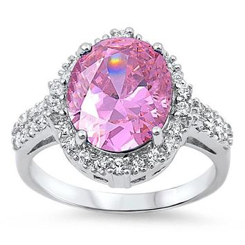 A 6CT Oval Cut Pink Russian Lab Diamond Halo Ring
