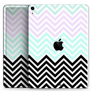 "Light Teal & Purple Sharp Black Chevron - Full Body Skin Decal for the Apple iPad Pro 12.9"", 11"", 10.5"", 9.7"", Air or Mini (All Models Available)"