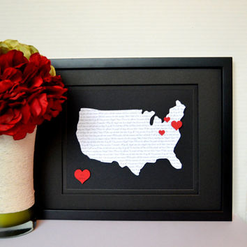US Map and Song Lyrics Art - Personalized Wedding Gift - Valentines Day Gift - Wedding Vow Art - Framed Custom Art - Where We're From