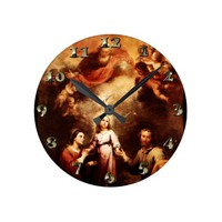 Two Trinities - The Holy Family - Murillo Round Clock