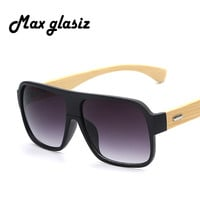 New Frame Square Wooden Sunglasses Men Retro Vintage Eyewear Male Glasses Oculos
