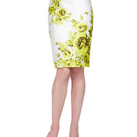 Floral-Print Boxy Sateen Top & Pencil Skirt