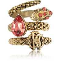 Roberto Cavalli Goldtone Metal Triple Ring w/Red Crystals