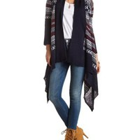 Chevron-Striped Cascade Cardigan Sweater - Navy Combo