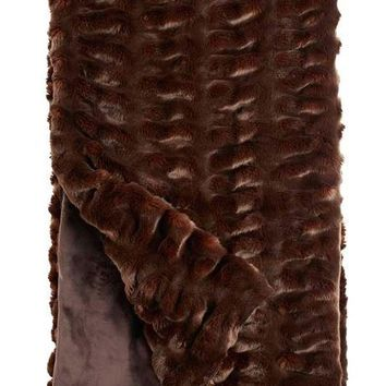 Mahogany Mink Couture Faux Fur Throw Blanket by Fabulous Furs
