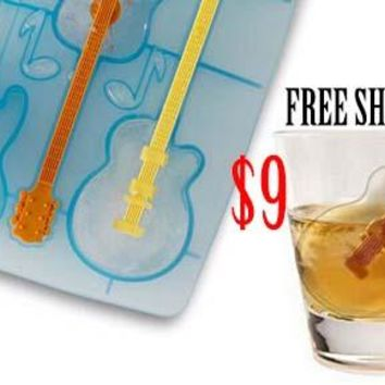 Guitar  Ice Tray and Stir Stick - FREE SHIPPING - Early Black Friday SALE