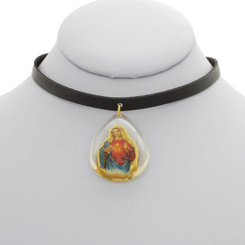 Leather Virgin Mary Choker