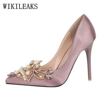 pearl designer valentine satin bigtree shoes luxury brand wedding shoes rhinestones crystal high heel shoes party sexy pumps