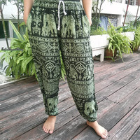 Exotic Green Elephants Print Trousers Yoga Pants Summer Hippie Baggy Boho Style Gypsy Thai Tribal Comfy Clothing For Beach Summer Unisex