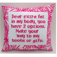 Funny Cross Stitch Pillow Quote, Pink Pillow, Fat To The Boobs Quote