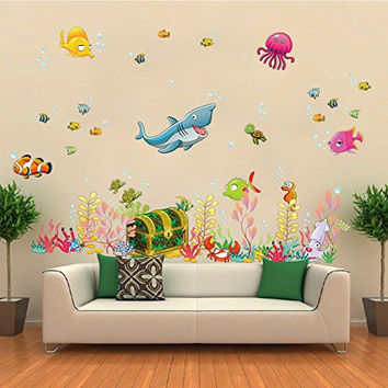ElecMotive® Under the Sea Decals Whales The Deep Blue Sea Decorative Peel Vinyl Wall Stickers Wall Decals Removable Decors for Bedrooms Kids Rooms Baby Nursery Boys and Girls Bedroom (Treasure Chest)