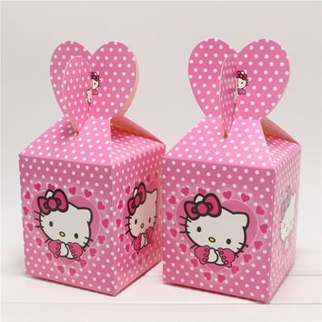 6Pcs/lot Cartoon Hello Kitty Theme party party birthday gift baby shower candy box paper gift box wedding like party supplies