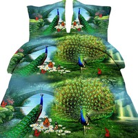 High Quality 3D Green Angel Peacock Anmal Total 4 Pcs Quilt Cover Bed sheet Pillowcase King Queen Bedding Set