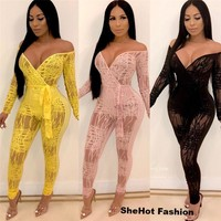 Women Sexy Lace Sheer Mesh Patchwork Off The Shoulder Long Sleeve Jumpsuit