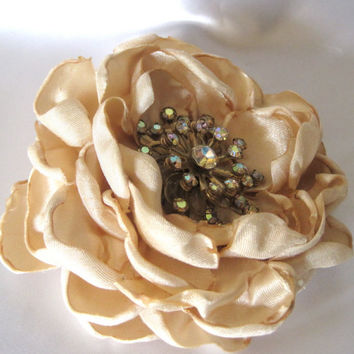 Champagne  Satin Wedding Flower Mother of the Bride, Bridesmaid Hair Clip with a Vintage  Aurora Borealis Accent