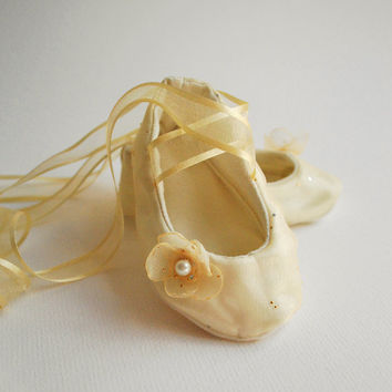 Baby Ballerina Slippers Champagne and Gold by babycricket on Etsy