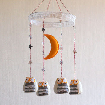 Owls baby nursery mobile - rustic natural style