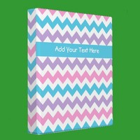 Custom Ring Binder, Pink Mauve Turquoise Chevrons from Zazzle.com