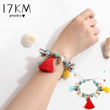 17KM 1Pcs Summer Colorful Stone Beads Bracelets For Women Tassel Sea Beach Shell Cotton Bracelet Vintage Accessorie Jewelry Gift