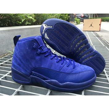 air jordan 12 blue suede basketball shoes