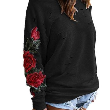 Womens Loose Embroidery Cosy Sweater +Gift Necklace