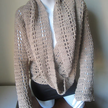 Sweater, drape wrap around sweater,  crochet sweater, drape sweater,infinity scarf collar cowl,