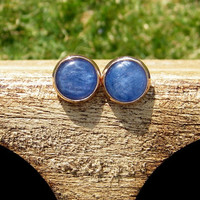 Blue Kyanite Stud Earrings. May birthstone earrings.