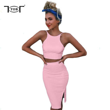 4 colors 2017 summer women two pieces sets bodycon dress solid white sexy club crop tops women clothing plus size dresses TM774