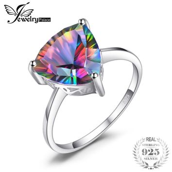 JewelryPalace Natural Rainbow Fire Mystic Topaz Ring For Women Concave Cut Pure Solid 925 Sterling Silver Fashion for Women
