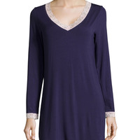 In the Mood Lace-Trim Long-Sleeve Sleep Shirt, Eclipse/Shell, Size: