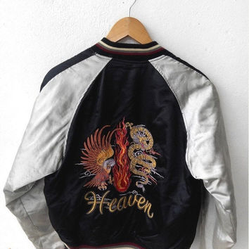 ON SALE SUKAJAN Japanese Vintage 1990's Embroidery Japan Eagles Heaven Black Jacket Embroidered Souvenirs Bomber Jacket