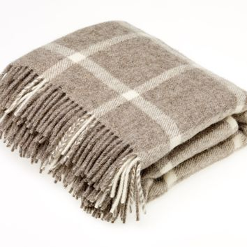Natural Collection Pure New Wool Brown Windowpane Throw Blanket