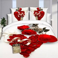 4Pcs Newest Flowers Wolf 3d Bedding Sets Thicker Bedding Set King Size Bed Sheet Duvet Cover Pillows Quilt No Comforter
