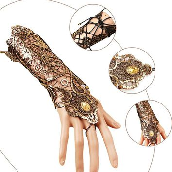 Long Lace Gloves Hollow-Out Fingerless Skid Resistance Gloves Kitted Patchwork Prom Bride Mittens Steampunk Goth Party Costume