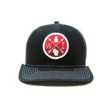 Wisconsin Trucker Hat - Navy Snapback with Red and White Arrow Patch